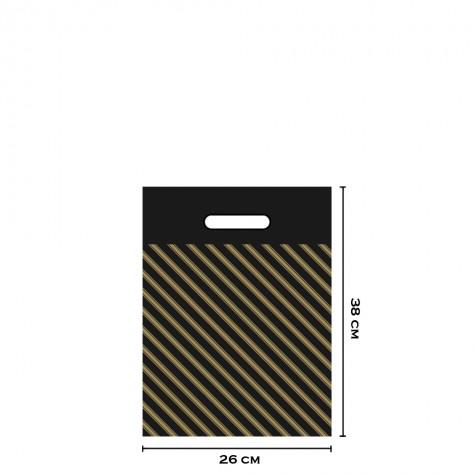 Takviyeli Siyah Çizgili Poşet 26x38 cm (No:2) - 50'li