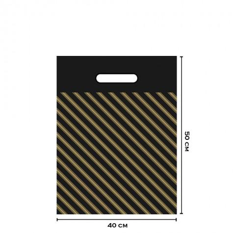 Takviyeli Siyah Çizgili Poşet 40x50 (No:4)-50'li