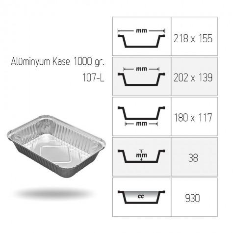 Alüminyum Kase 1000 gr. - 100'lü