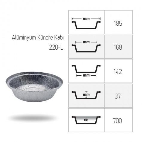 Alüminyum Künefe Kabı 700 gr (Derin) - 1000'li