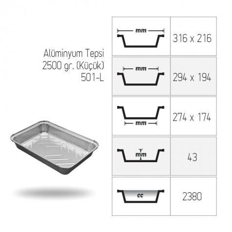 Alüminyum Tepsi 2500 gr. (Küçük) - 100'lü