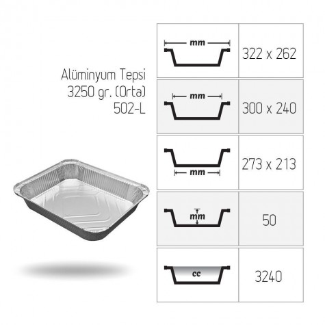 Alüminyum Tepsi 3250 gr. (Orta) - 400'lü