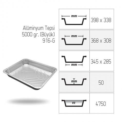 Alüminyum Tepsi 5000 gr. (Büyük) - 100'lü