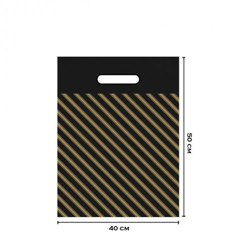Takviyeli Siyah Çizgili Poşet 40x50 (No:4)-1000'li