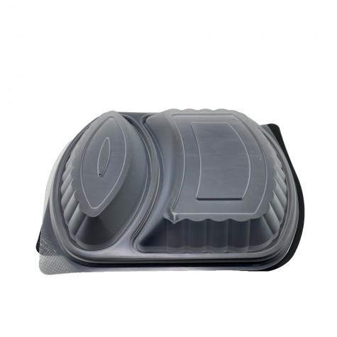2 Bölmeli Kapaklı Gıda Kabı (Sıcağa Dayanıklı) - 50'li